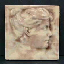American Encaustic Antique Victorian Female Silhouette Tile (1)