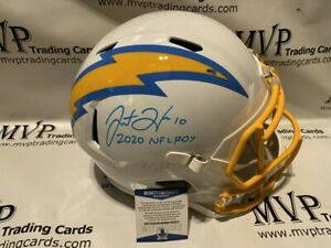Justin Herbert Signed F/S LA Chargers Speed Replica Helmet w/ ROY Inscript 0371