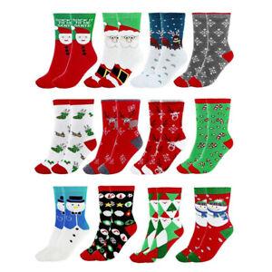 1 Pair Women Men Christmas Socks Santa Claus Xmas Deer Stocking Cotton Warm