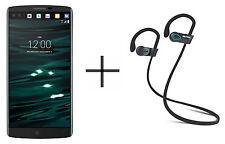 LG V10 Unlocked GSM Black Phone bundled w/ SHARKK Flex 2o Headphone