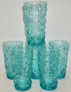 VINTAGE MCM SET OF 6 ANCHOR HOCKING AQUA GLASSES ~ MILANO/LIDO ~ CRINKLE