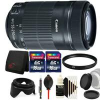 Canon EF-S 55-250mm F4-5.6 IS STM Lens w/ Accessory Kit for Canon EOS 70D & 80D