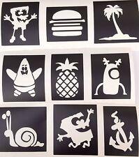 9 x spongebob Patrick etc stencils -top up ur glitter tattoo kit face painting