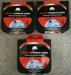 3 X 40 CD/DVD Storage Wallet Car Disc Holder Carry Case Pocket Protector Sleeve