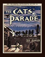 Vintage 1901 THE CATS PARADE 8x10 black cat sheet music Art print