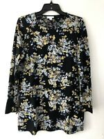 NEW J. JILL XS S L Tunic w/Overlay Knit Top Pima Cotton Blend Floral Black Blue