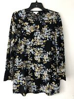 NEW J. JILL S M Tunic w/Overlay Knit Top Pima Cotton Blend Floral Black Blue