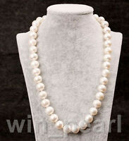 """Genuine 9-10mm White Pearl Necklace 25"""" Cultured Freshwater AAA ROUND Jewellery"""