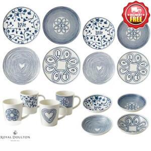 Royal Doulton ED Ellen DeGeneres Blue Love 16pcs Dinner Set | Bowl Plate Mug