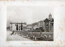 Stampa antica STRESA sul Lago Maggiore veduta del lungolago 1845 Old Print