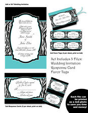 ZEBRA PRINT Wedding INVITATION, Response Card & Favor Tag Printable Party Custom