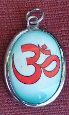 Tibetan Pendant GREEN Sanskrit Om Enamel & Metal