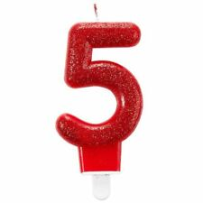Glitter Number Candle Red No5 Birthday Party Cake Decoration Topper Picks