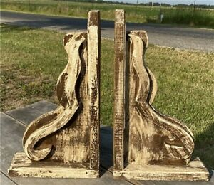 Pair Distressed Wood Corbels, Architectural Shelf Brackets, Rustic Farmhouse.