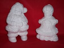 Ceramic Bisque Ready to Paint Small set of Santa and Small Knitting Mrs. Santa
