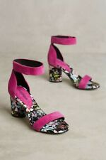 Jeffrey Campbell Purdy Pink Suede Ankle Strap Floral Wrap Block Heels Size 8 New