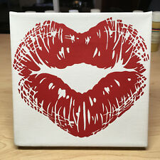 Heart Kiss Love Hand Crafted Modern Abstract Acrylic Pop Art Painting