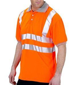 Hi Vis Viz Visibility Orange T-Shirt Polo Short Sleeve Safety Work Top Workwear