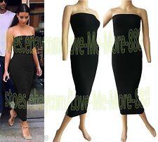 WOMENS Tube Strapless Party Club Slim Stretch BoDYCON Solid Long Maxi Dress (XL)