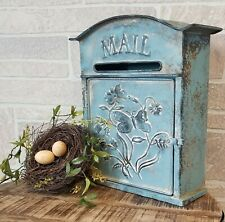 Blue With Butterfly Vintage Galvanized Distressed Metal Wall Mounting Mailbox