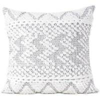 """20"""" White Black Woven Tufted Cushion Cover Case Fringe Pillow Sofa Couch Throw B"""