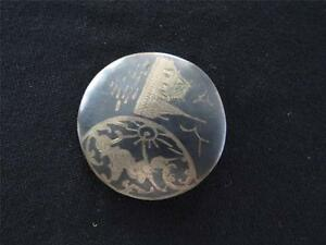 VINTAGE 1920'S-1930'S SIAM STERLING SILVER HAND ETCHED PIN 1 1/2 DIAMETER