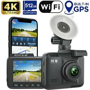 Rove R2-4K Car Dash Cam - 4K Ultra HD 2160P - Built-In WiFi & GPS Supports 512GB