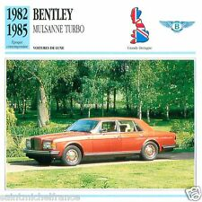 BENTLEY MULSANNE TURBO 1982 1985 CAR GREAT BRITAIN GRANDE BRETAGNE CARD FICHE