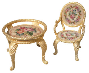 Miniature Dollhouse Metal Petit Point Floral Round Table  And Armed Chair