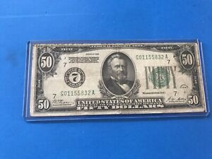 """1928 $50 FIFTY DOLLARS NUMERICAL SEAL  (7)   """"GOLD ON DEMAND""""  ,,Lot #8"""