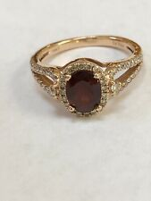 LEVIAN SIGNED NATURAL OVAL CUT GARNET & DIAMOND 14K ROSE GOLD RING