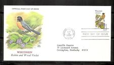 US SC # 2001 State Birds And Flowers ( Wisconsin ) FDC . Chuck Ripper Design