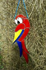 """Large 15"""" tall Stained Glass Parrot Suncatcher Handmade by Faith Stained Glass"""