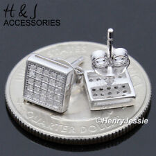 Men 925 Sterling Silver 7Mm Iced Out Bling Square Push Back Stud Earring*Ae168