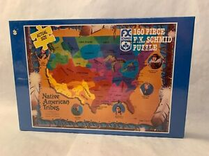 Vtg Native American Tribes Map 160 Piece Puzzle  FX Schmid 1993 New Sealed