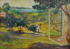 Berthe Baur-Pasche, Schweiz (1906-1985) Gemälde: LANDSCHAFT IN AFRIKA UND AFFE