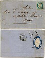 Francia 1871 Ceres Cubierta + Carta + Sello de Oblea de anuncio