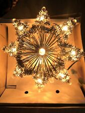 Vtg Working Everglow 10 Flashing Lights Christmas Tree Topper Wall Plaque