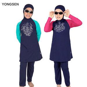 Muslim Modesty Children Full Cover Swimsuit Swimwear Islamic Beachwear Clothes