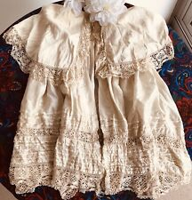 Rare Antique Silk Childs Frock Coat Lace Doll Christening Victorian Baby Dress