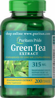 Puritan's Pride Green Tea Standardized Extract Supplement 315 mg 200 Capsules