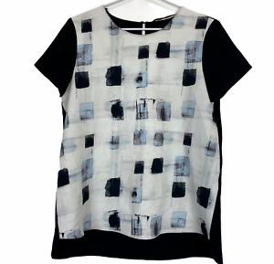 Zara Basic Womens Black/White Short Sleeve Blouse Size M