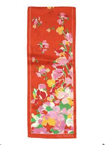 """Lauren Ralph Lauren women's Serra Twill Silk Scarf Orange Floral Print 60""""X 11"""""""