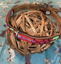 Dog Collar Genuine Leather Small Breed 100% Colorful Silk Weaved Thread