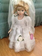 "Victorian MENIE Porcelain Doll w Satin Sheer Lace Flowers Shoes & Veil 20"" Tal"