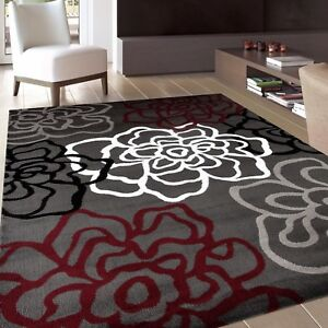 RUGSHOP CONTEMPORARY MODERN FLORAL FLOWERS GRAY SOFT AREA RUGS