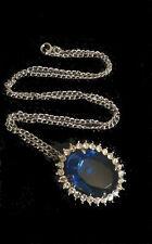 Vintage Royal Sapphire Crystal Jewelry Gem Gemstone Jewel Chain Pendant Estate X