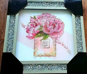 FLOWERS 2 LIQUID ART CRUSHED DIAMOND CRYSTAL 50x50cm FRAME WALL PICTURE