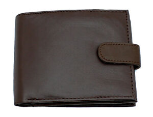 Mens RFID BLOCKING Real Leather Wallet Zip Coin Pocket Pouch ID Window 42 Brown