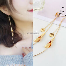Fashion Korean Stylish Women No-piercing Ear Clip-on Long Drop Dangle Earrings